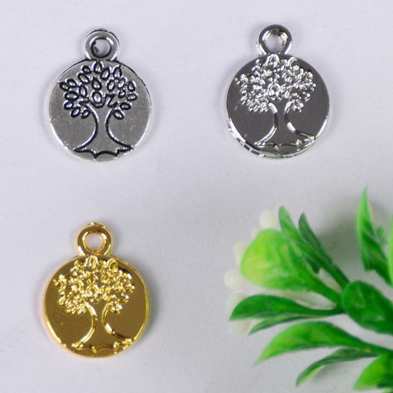 50pcs/lot 12*12mm 3 color Vintage Metal Alloy Round Tree Charms Jewelry Pendants Diy Handmade