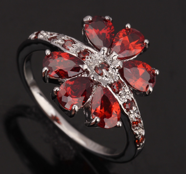 Crazy Flowers Red Garnet 925 Sterling Silver High Quality Overlay Women&39;s Fashion Jewelry For Women Sales Size 6 7 8 9 S0172