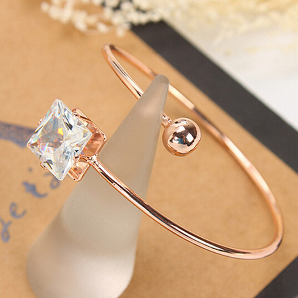 White /Rose Gold Color Classic Bangle Bracelets Cuff For Women Adjustable Charm Love Cubic Crystal Bangles