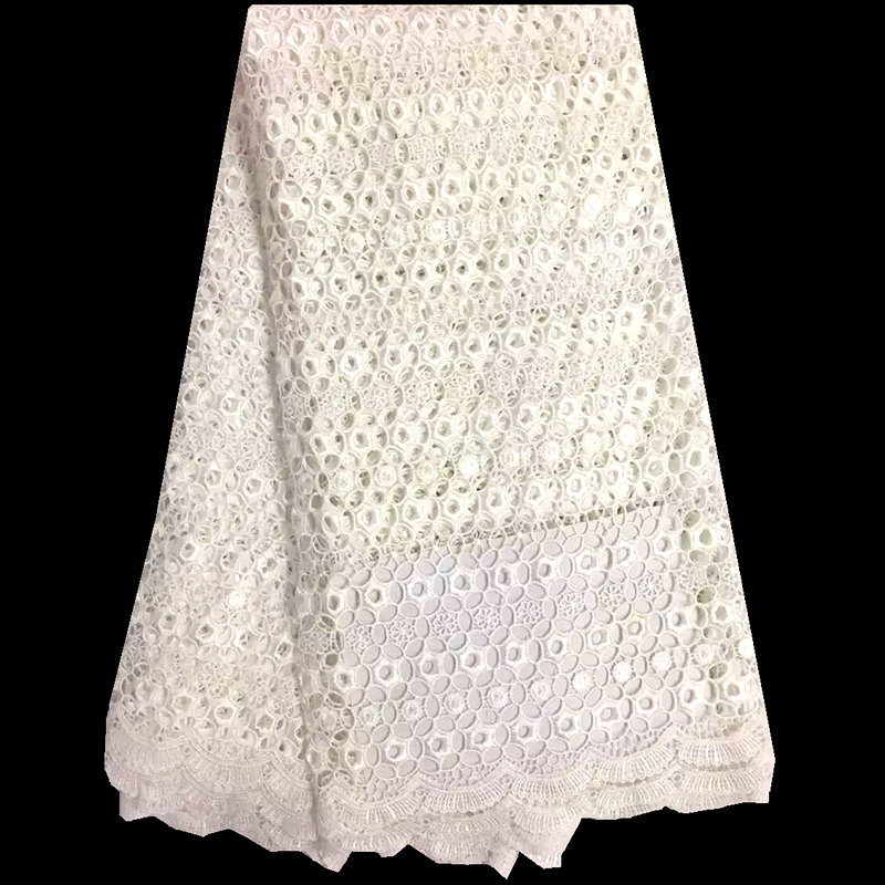 Embroidered White Mesh Lace Fabric Water Soluble Cord Lace High Quality For Wedding Dress African Guipure Lace Fabric