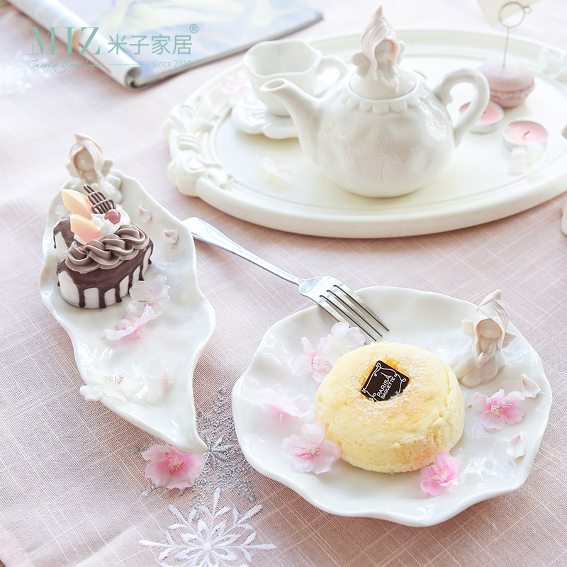 Miz 1 Piece Decorative Plate Bowl Ceramic Dishes Storage Tray for Food Snack Wedding Decoration Tableware for Dessert