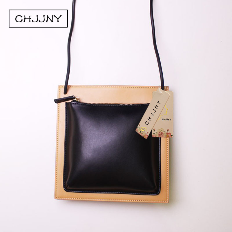 CHJJNY flap real leather clutches women genuine leather sling small bags crossbody real leather wallet building block