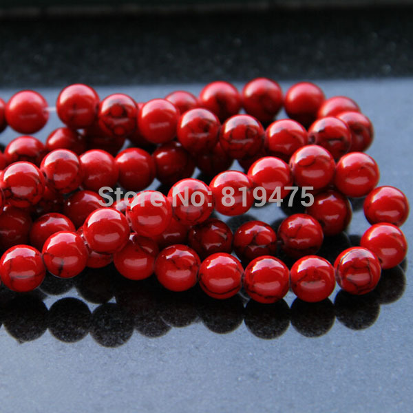 6 8 mm Synthetic Stonebeads Round Red Color Howlite Fashion beads for jewelry making