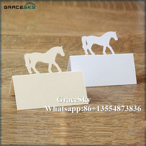 50*Free Shipping Laser Cut Horse Design Paper Place Name Seat Wedding Table Card for Anniversary Party Invitation Table Decor.