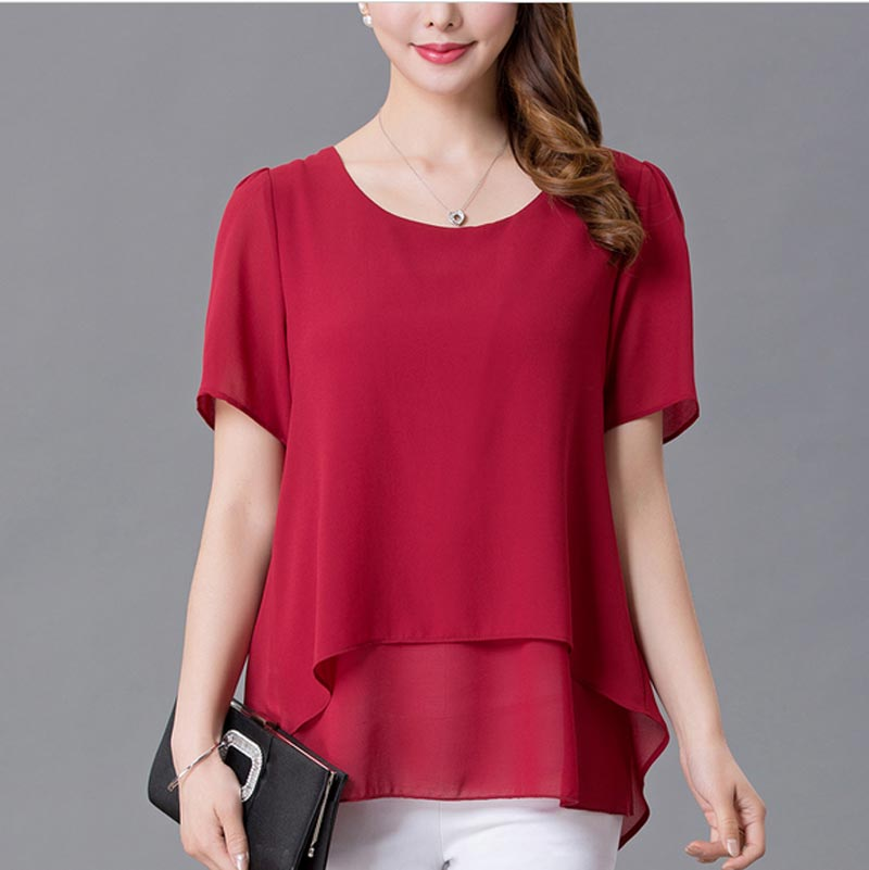 XL-5XL Plus size women blouses New Arrivals 2017 Summer tops Fashion Casual loose chiffon blouses plus size women tops AE2148