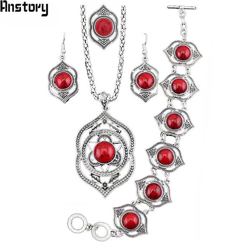 Hollow Flower Leaf Stone Jewelry Sets Necklace Bracelet Earrings Rings For Women Vintage Antique Silver Plated Party Gift TS185
