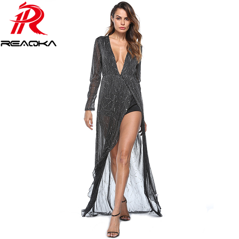 2017 Autumn Winter Long Sleeve Maxi Dress Women Sexy Deep V-neck Hot Silver Mesh Transparent Evening Party Dresses Vestidos
