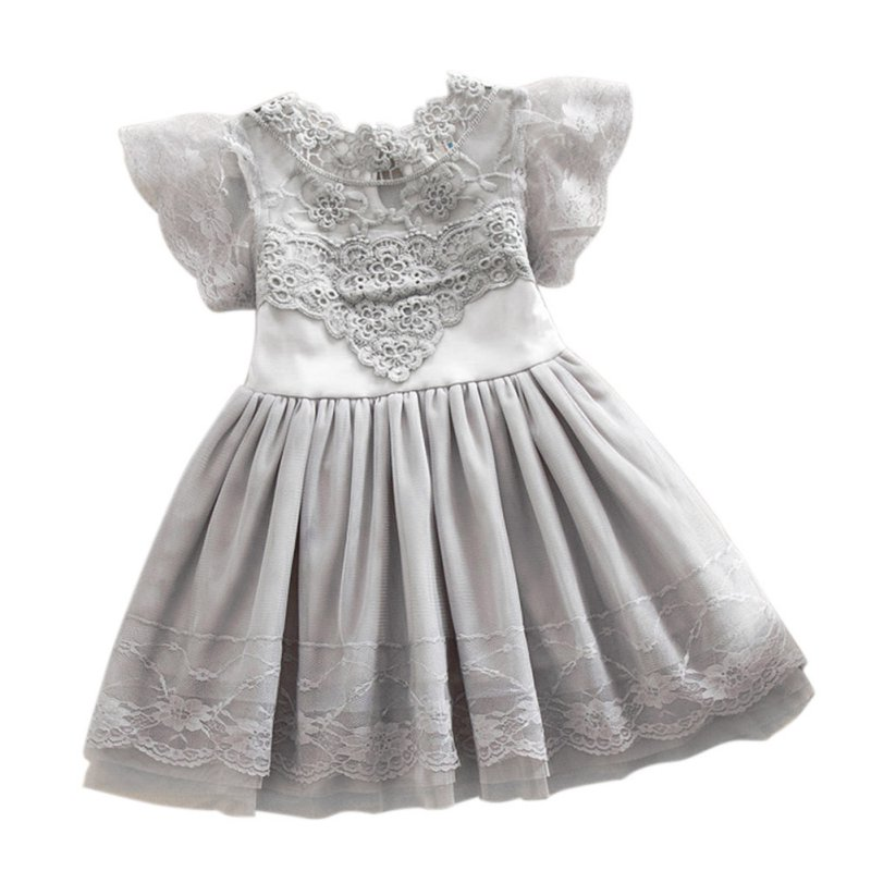 Kids Baby Girl Lace Princess Dress Cotton Tulle Floral Party Dresses 2-7Y