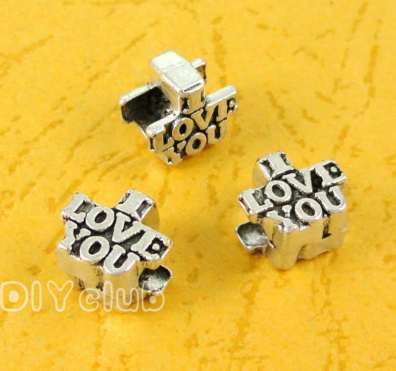 70pcs-Antique Gümüş I Love You Boncuk 10x9x6mm