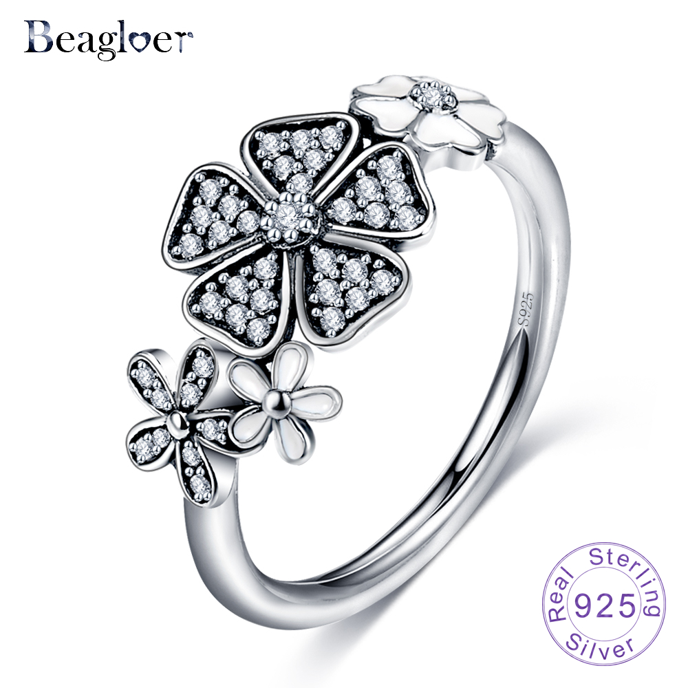 Beagloer 925 Sterling Silver Ring Shimmering Bouquet Ring for Women with White Enamel Wedding Engagement PSRI0009-B